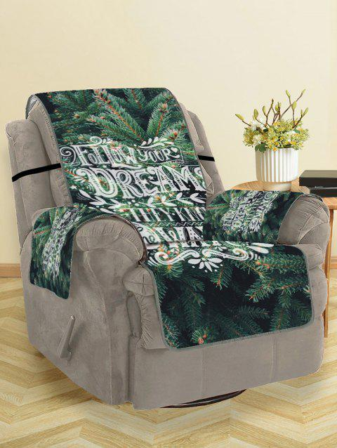Pine Pattern Couch Cover - DARK FOREST GREEN SINGLE SEAT