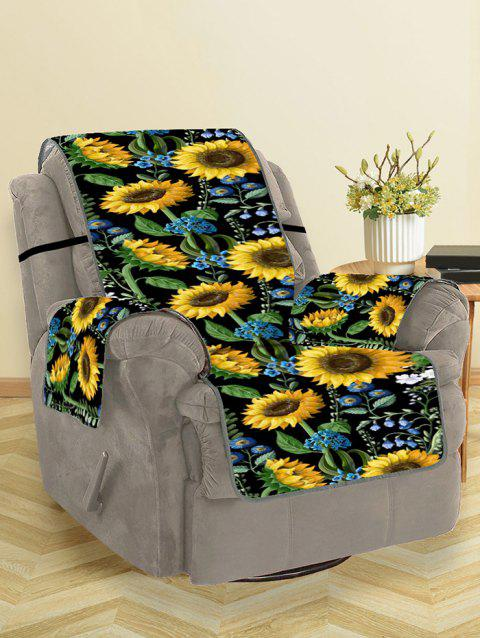 Sunflower Leaf Pattern Couch Cover - BLACK SINGLE SEAT