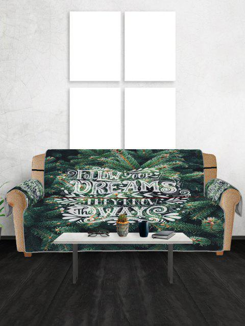 Pine Pattern Couch Cover - DARK FOREST GREEN THREE SEATS