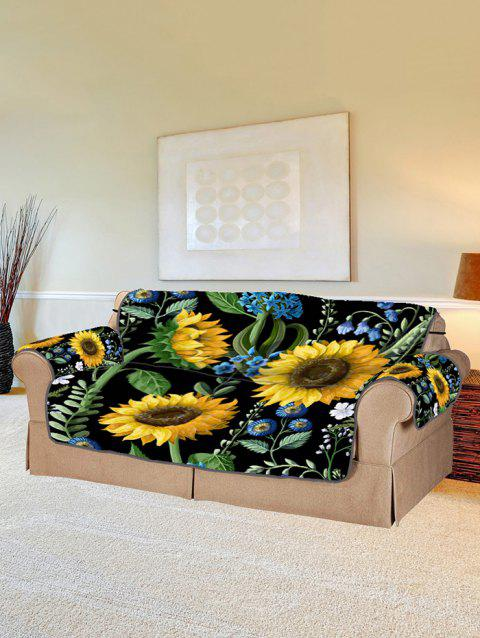 Sunflower Leaf Pattern Couch Cover - BLACK TWO SEATS