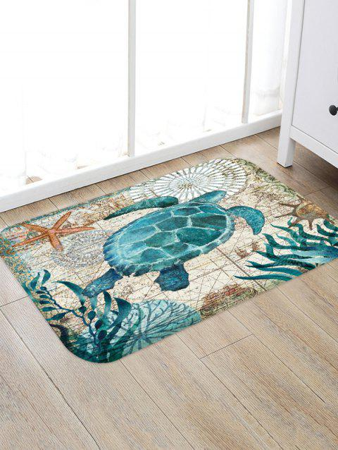 Turtle Printed Decorative Floor Mat - BABY BLUE W16 X L24 INCH