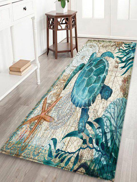 Turtle Printed Decorative Floor Mat - BABY BLUE W16 X L47 INCH