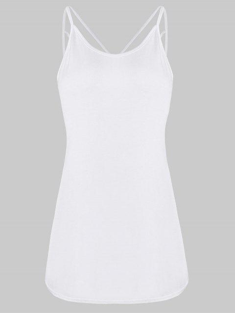 Strappy Lattice Back Tank Top - WHITE XL