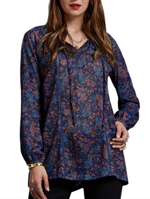 Floral Front Tied Tunic Casual Tee - multicolor XL