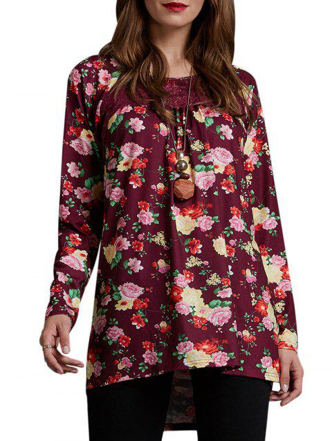 Lace Panel Floral Lattice Back Tunic Tee - RED XL