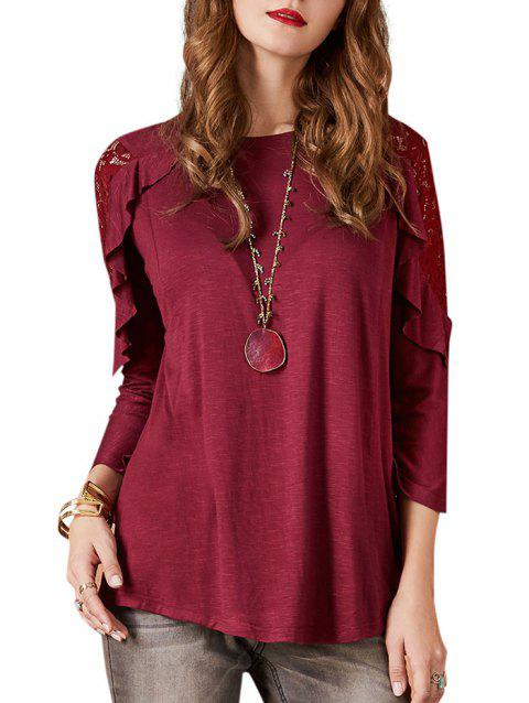 Lace Insert Long Sleeve Ruffled Tee - RED WINE S