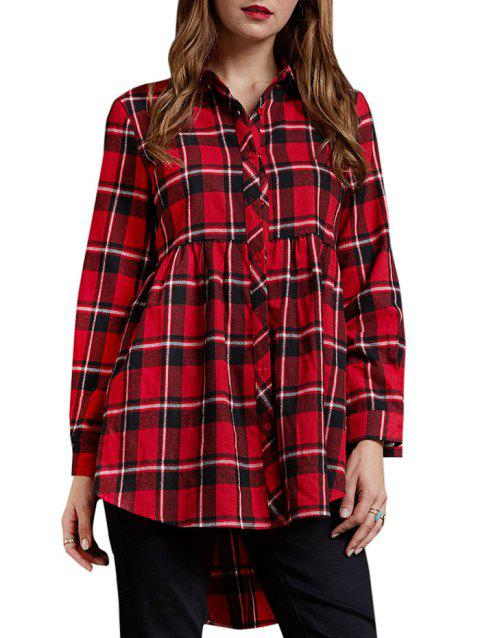 High Low Plaid Roll Sleeve Tunic Shirt - RED L
