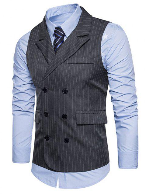 Double Breasted Pockets Striped Vest - DARK GRAY 2XL