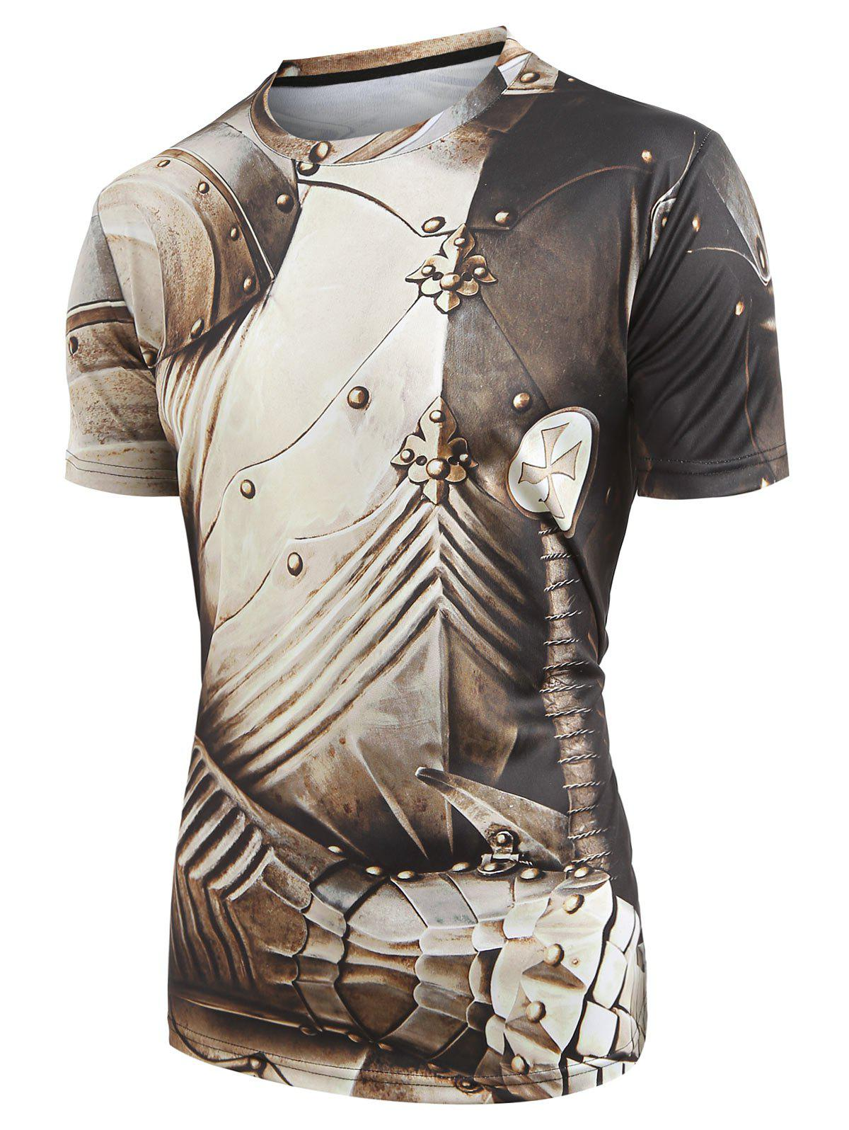 Short Sleeves Armor Print Casual T-shirt - multicolor S