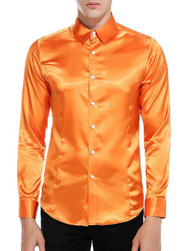 Chemise Simple Boutonnée en Satin - Orange M