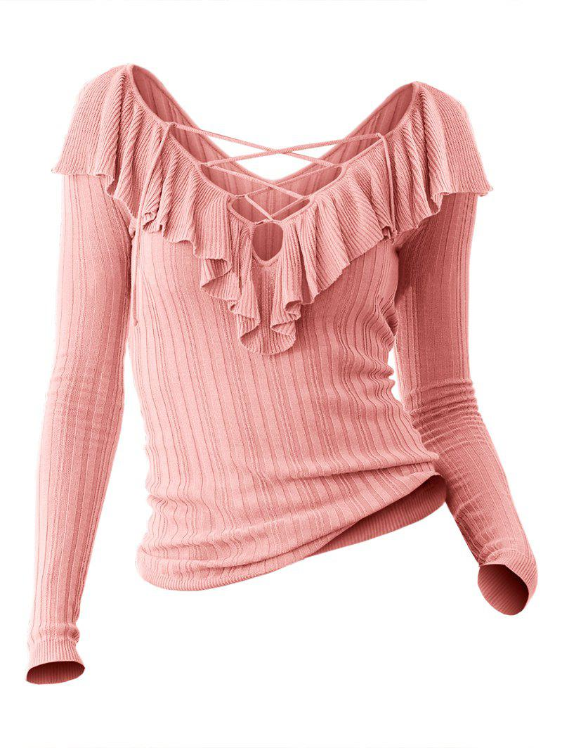 V Neck Long Sleeve Pullover Sweater - ROSE 2XL