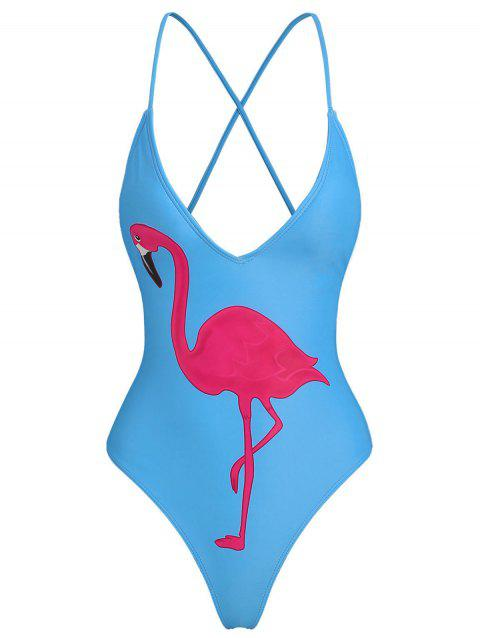 Criss Cross Flamingo Print One Piece Swimsuit - DEEP SKY BLUE XL