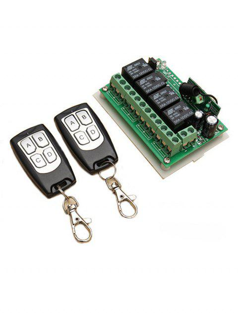 433 MHz Universal Relay Receiver Module and 2 Pcs RF Wireless Remote Switch Control - BLACK