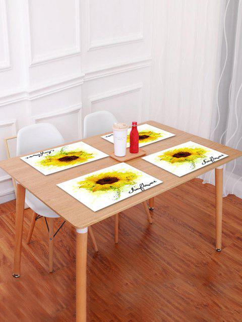 Sunflower Painting Pattern Table Placemat - GOLDENROD W18 X L12 INCH