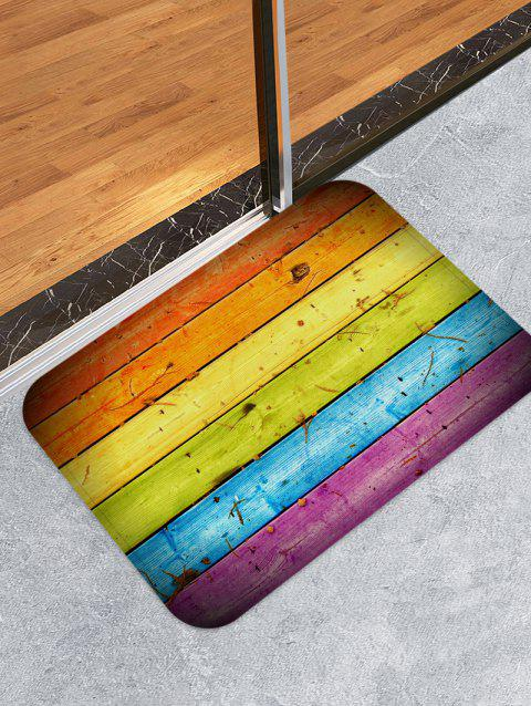 Colorful Wood Grain Printed Antiskid Area Rug - multicolor W16 X L24 INCH