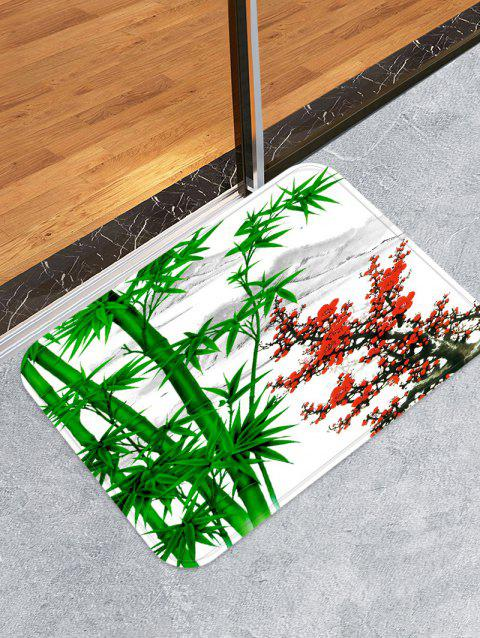 Bamboo and Flowers Pattern Water Absorption Area Rug - DEEP GREEN W16 X L24 INCH