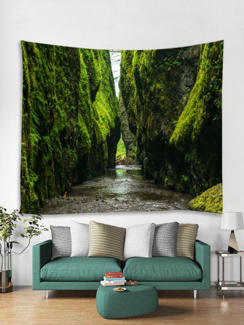 Mountains Scenery Print Tapestry Wall Art - SEAWEED GREEN W79 X L71 INCH