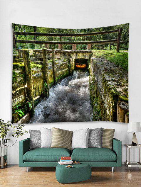 Forest Small Bridge Scenery Print Wall Art Tapestry - multicolor A W79 X L71 INCH