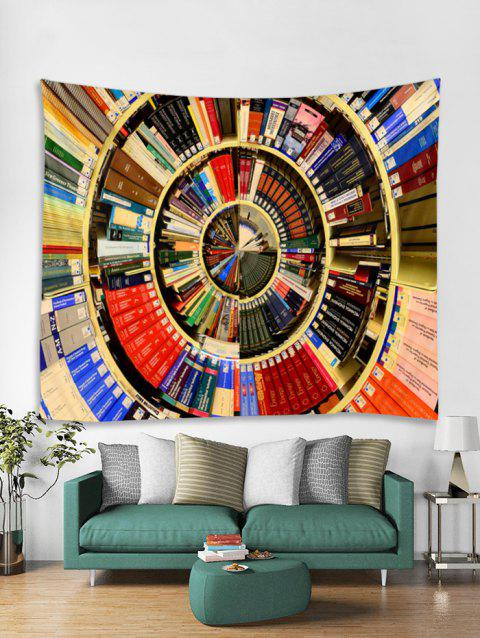 Books Shelf Print Tapestry Wall Hanging Art Decoration - multicolor W59 X L51 INCH