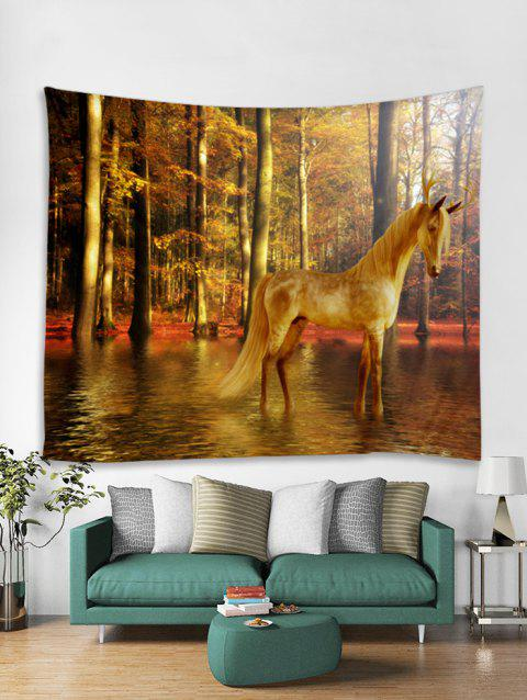 Home Decor Forest Horse Print Tapestry Wall Art - ORANGE GOLD W91 X L71 INCH