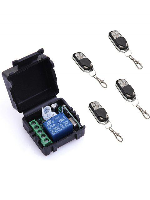 4 Pcs Wireless Remote Switch Control and 1 Channel Mini Relay Receiver Module - BLACK