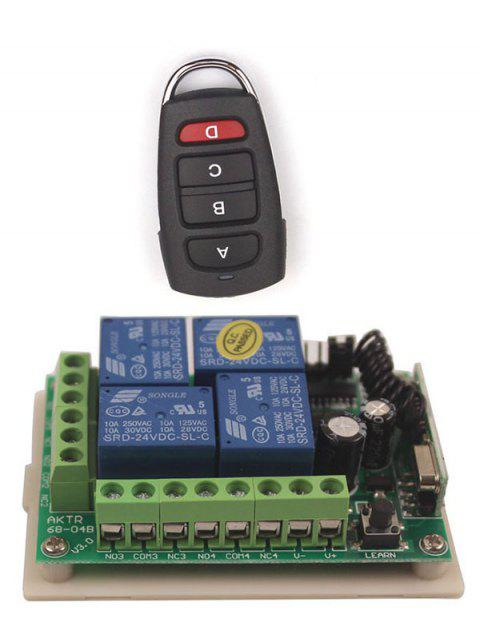 Universal Wireless Remote Switch Control and 4 Channel Relay Receiver Module - BLACK