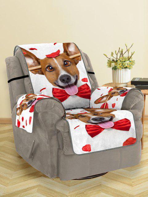 Valentines Day Dog Pattern Couch Cover - multicolor SINGLE SEAT