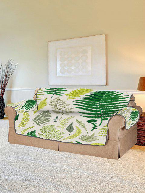 Plant Leaf Pattern Couch Cover - FERN GREEN TWO SEATS