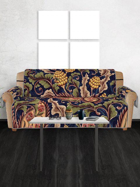 Vintage Leaf Pattern Couch Cover - multicolor THREE SEATS