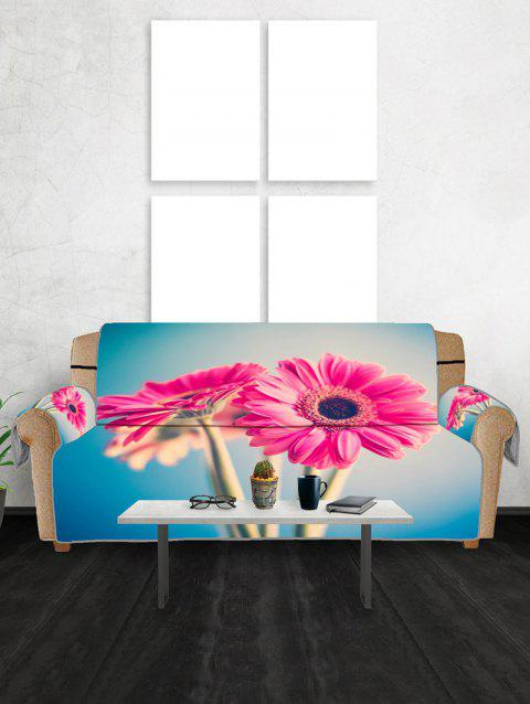 Floral Design Couch Cover - DEEP PINK THREE SEATS