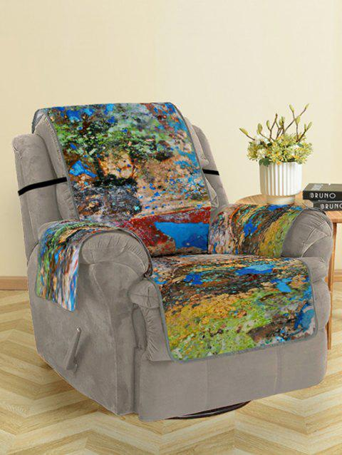 Oil Paint Pattern Couch Cover - multicolor SINGLE SEAT