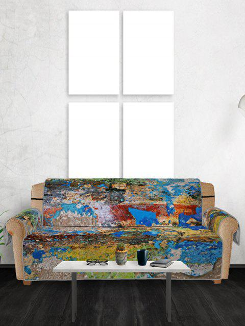 Oil Paint Pattern Couch Cover - multicolor THREE SEATS