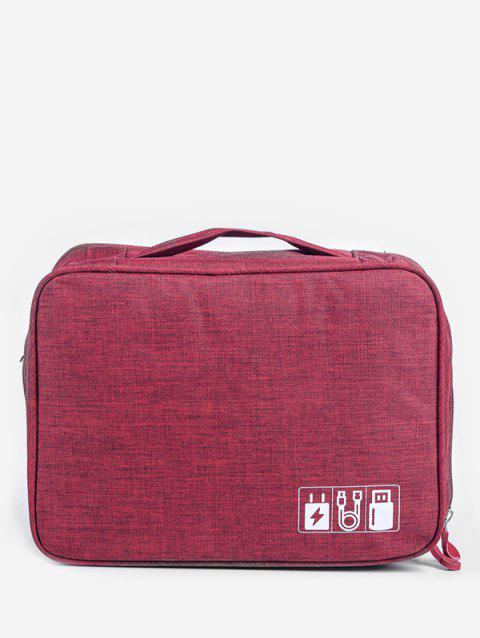 For Data Line And Charger Zipper Storage Bag - RED