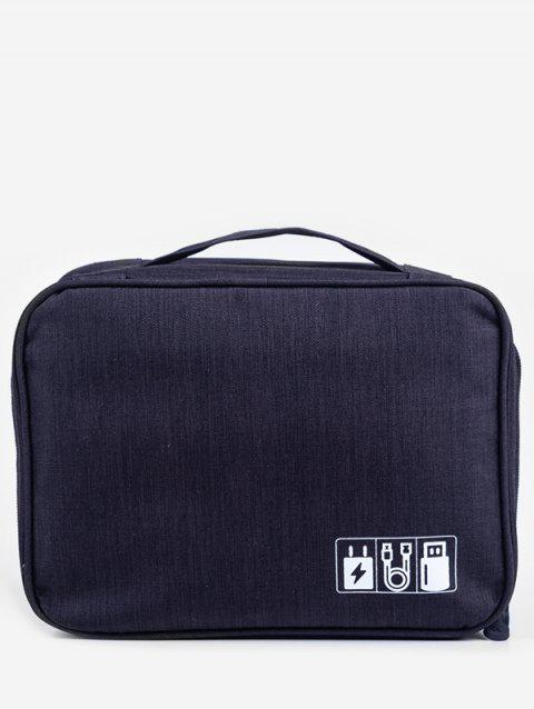 For Data Line And Charger Zipper Storage Bag - BLACK