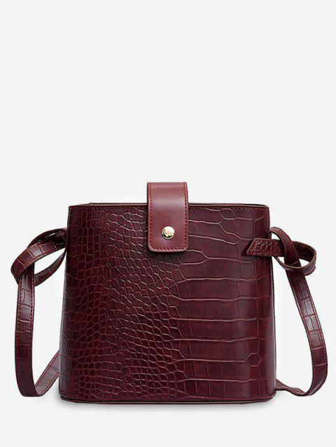 Striped Solid Bucket Shoulder Bag - RED WINE