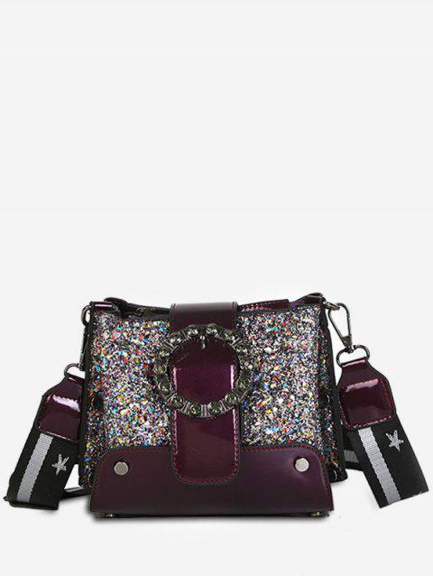 Shiny Rivet Leather Shoulder Bag - PLUM PIE