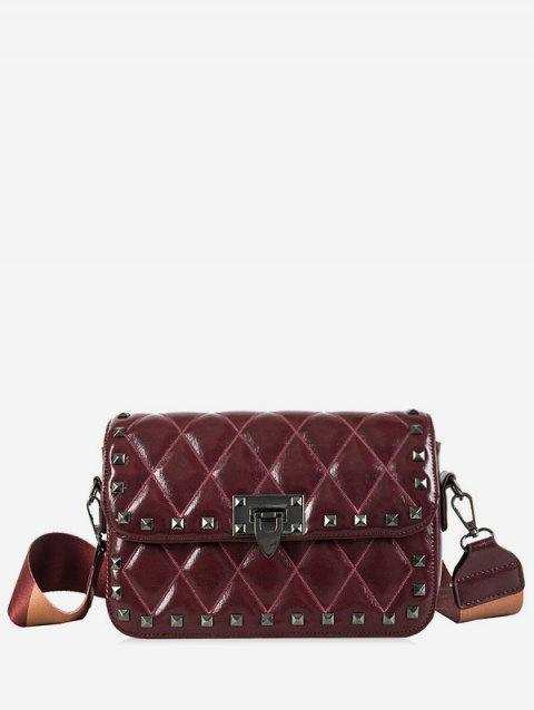 Small Rivet Colored Strap Crossbody Quilted Bag - RED WINE