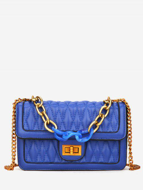 PU Chain Cover Cross Body Sling Quilted Bag - BLUE