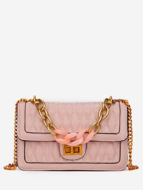 PU Chain Cover Cross Body Sling Quilted Bag - PINK