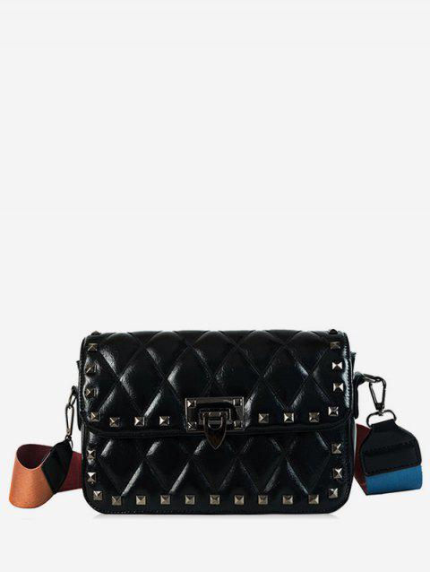 Small Rivet Colored Strap Crossbody Quilted Bag - BLACK