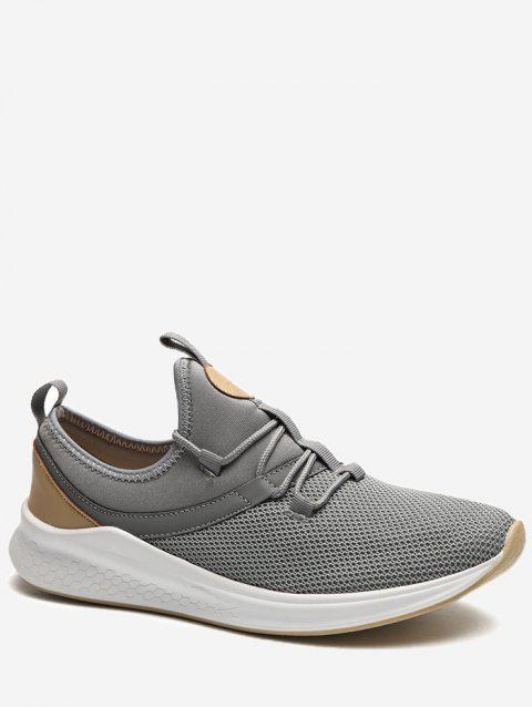 Lace Up Mesh Panel Sneakers - GRAY EU 40
