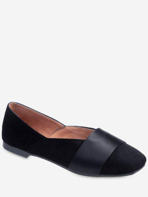 Contrast Band Square Toe Flats - BLACK EU 36
