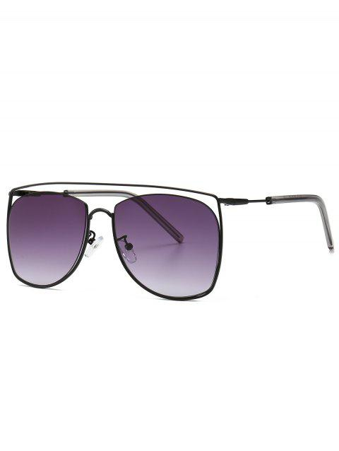 Stylish Square Metal Frame Sunglasses - BLACK