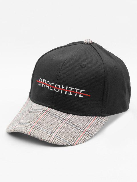 Embroidery Letter Plaid Cap Truckers Hat - BLACK