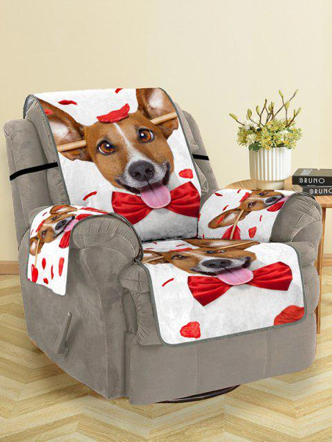Dog Design Couch Cover - RED SINGLE SEAT