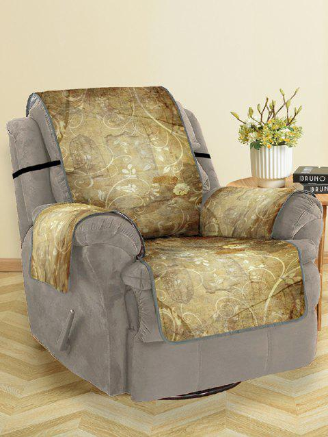 Floral Printed Couch Cover - GOLDENROD SINGLE SEAT