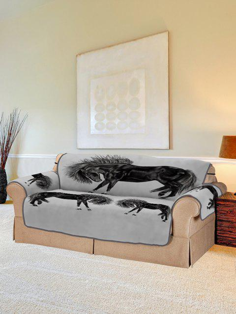 Horse Printed Couch Cover - BLACK TWO SEATS