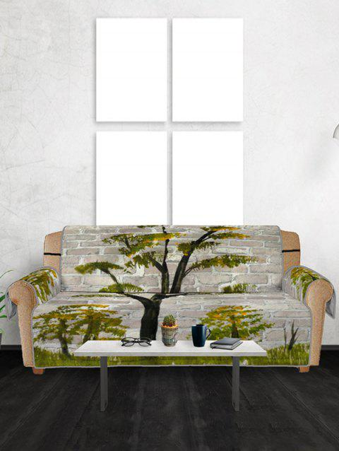 Tree Brick Wall Pattern Couch Cover - FERN GREEN THREE SEATS