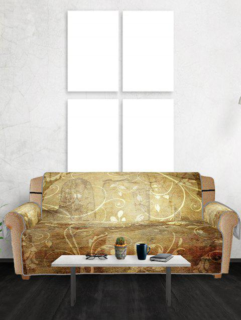 Floral Printed Couch Cover - GOLDENROD THREE SEATS