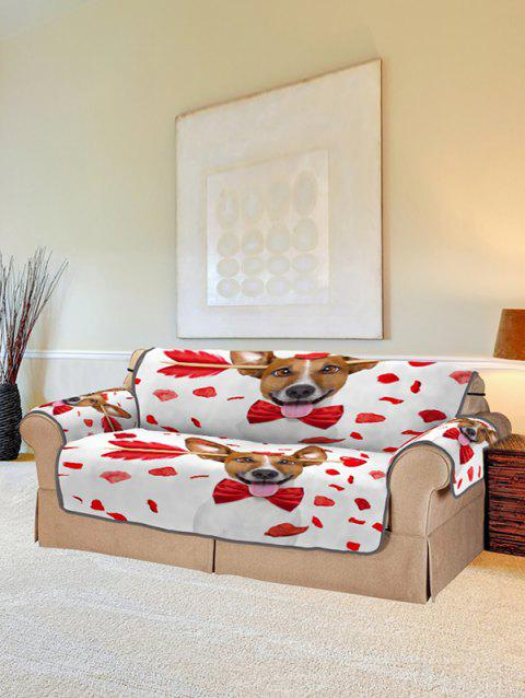 Dog Design Couch Cover - RED TWO SEATS